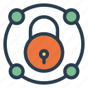 lock, network, protection, safe, security, sharing, social icon
