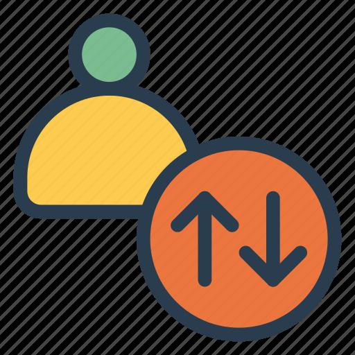 account, avtar, down, person, profile, up, user icon