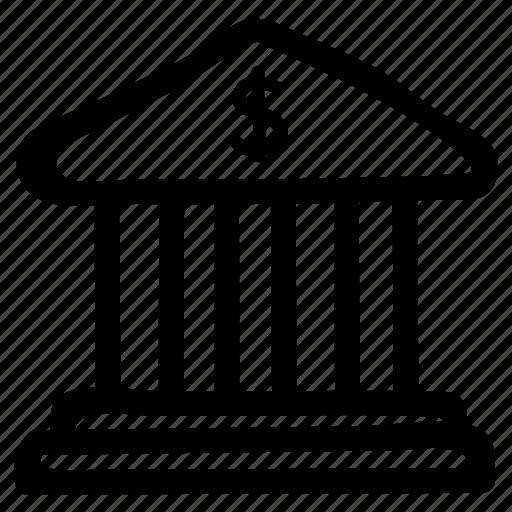 bank, building, capital, dollar, finance, money, savings icon