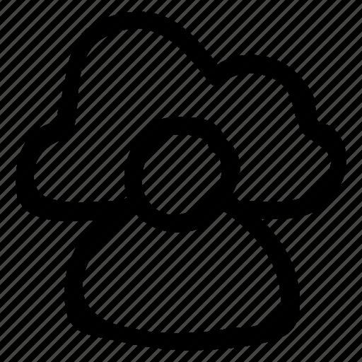 account, cloud, computing, data, internet, man, user icon