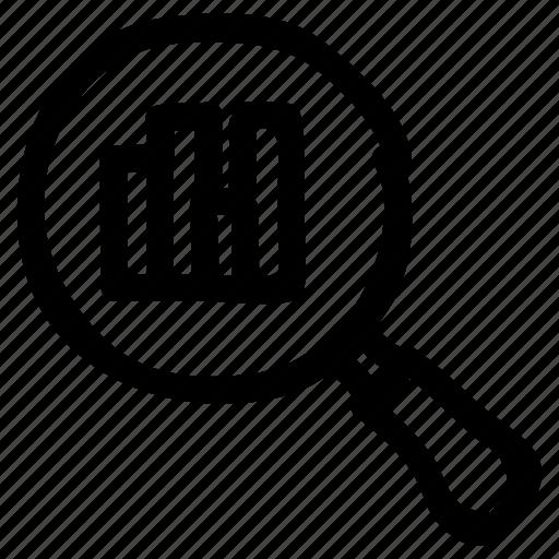 diagram, graph, magnify, marketing, report, search, statistic icon