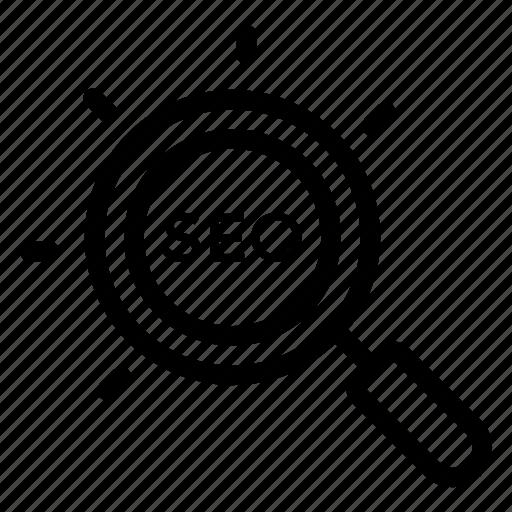 code, coding, find, glass, magnify, search, seo icon