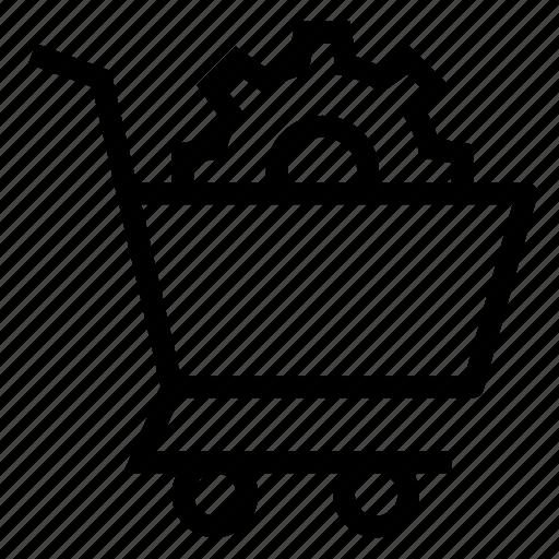 buy, cart, ecommerce, gear, setting, shop, shopping icon