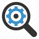 magnifier, magnifying, marketing, search, seo, setting, settings icon