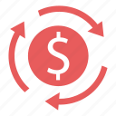 arrow, dollar, internet, marketing, seo, sign, transfer icon