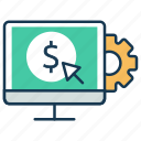 cost per action, cost per click, dollar, pay, search engine, seo marketing icon