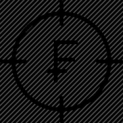 aim, bullseye, earnings, franc, goal, money icon
