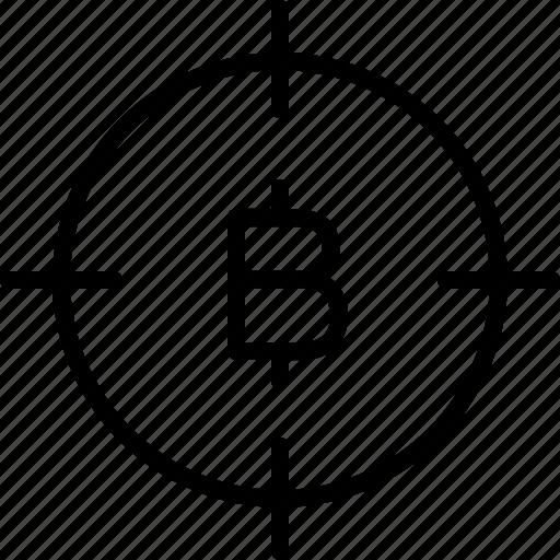 aim, bitcoin, bullseye, earnings, goal, money icon