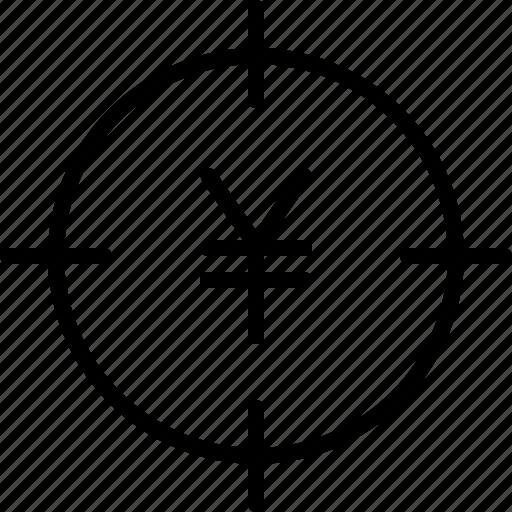 aim, bullseye, earnings, goal, money, yen icon