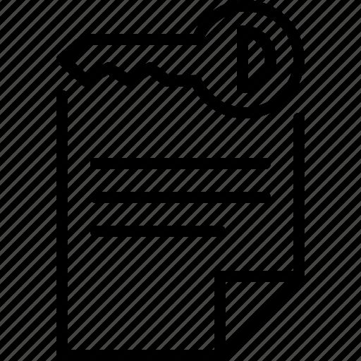 document, file, key, keyword, private icon