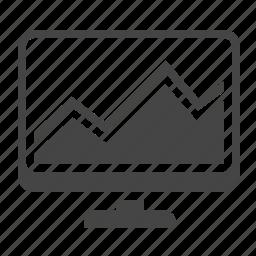 analytics, computer, graph, monitoring, report, screen, statistics icon