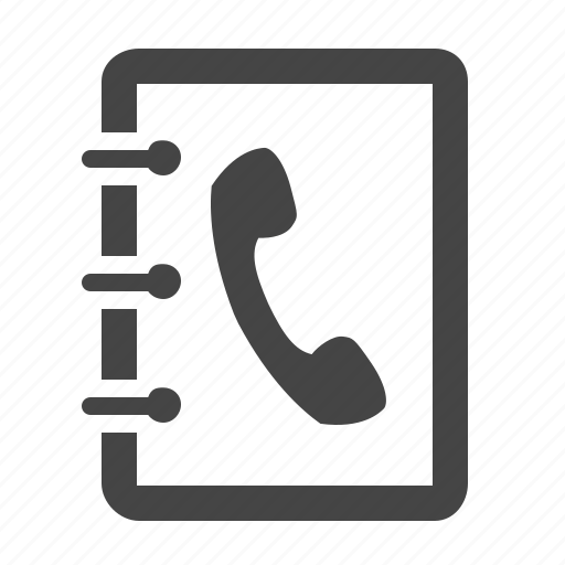 address, book, call, communication, contact, contact list, notepad icon
