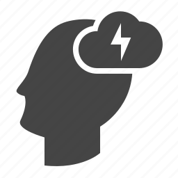 brain, brainstorm, creative, creativity, head, lightning, mind icon