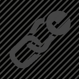 anchor, chain, checkmark, done, hyperlink, inbound, link building icon
