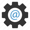 mail, settings icon