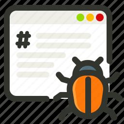 bug, error, malware, programing, virus icon