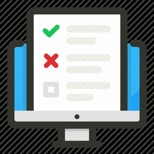 checklist, computer, survey, tasks icon