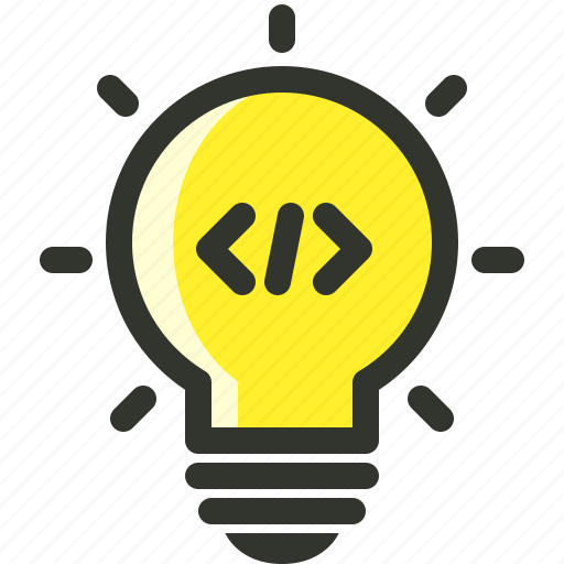 bulb, coding, idea, invention, light icon