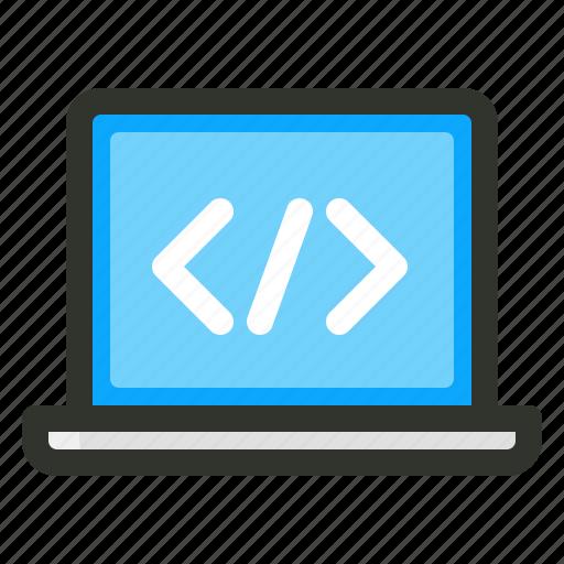 coding, laptop, web design, web development icon