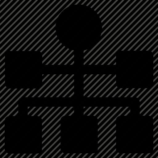 flow diagram, flowchart, hierarchy, sitemap, structure icon