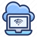 cloud wifi network, internet connected, laptop wifi network, wifi connection, wifi signals, wireless internet icon