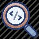 coding exploration, digital coding, search coding, search div, search programming, seo icon