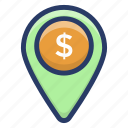 bank location, business location, financial center pin, location marker, location pin icon