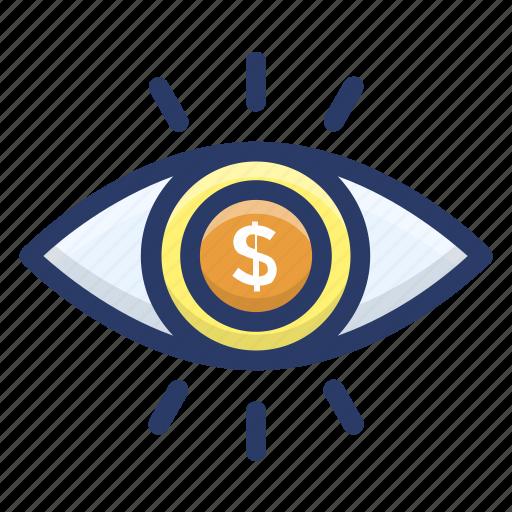 business eye, financial eye, financial perception, financial vision, marketing vision icon