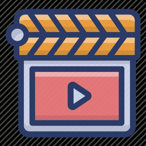 cinematography, clapper, clapperboard, clapstick, slat board, sync slate, videography icon