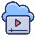 cloud video marketing, digital marketing, online video, video advertising, video streaming icon