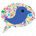 animal, bird, bubble, concept, speech, twitter, web icon