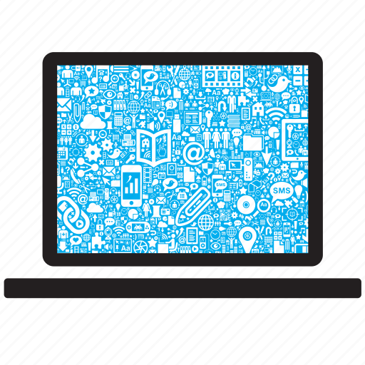 computer, connection, connectivity, internet, laptop, media, web icon