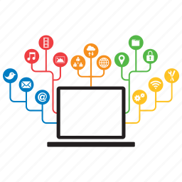 computer, concept, connection, connectivity, device, internet, laptop icon