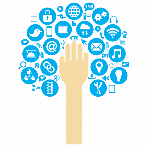 concept, connection, connectivity, hand, internet, tree, web icon