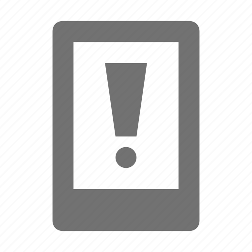 attention, exclamation mark, low battery, mobile alert, mobile warning icon