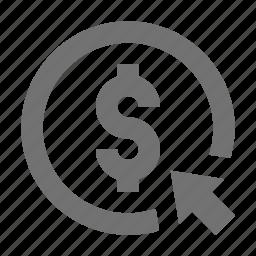 click, dollar, dollar currency, dollar sign icon