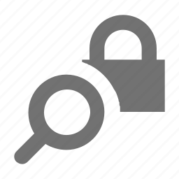 lock, magnifier, magnifying, padlock, search privacy icon