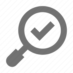 approved, magnifier, magnifying checked, magnifying glass, zoom checked icon