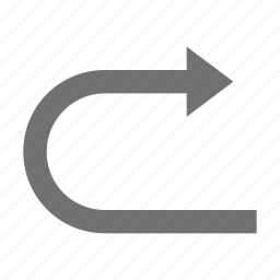 back arrow, curve arrow, curve up right, right arrow, right arrows icon