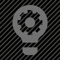 bulb cogs, cog, cogwheel, gear, illumination cog icon