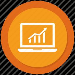bar, computer, device, growth bar, internet, laptop, portable icon