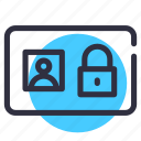 id-card, padlock, protected, safety, security icon