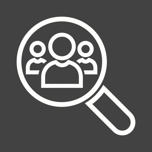 analysis, connections, network, people, search icon