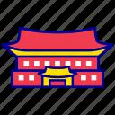 asian, blue house, city, cityscape, landmark, seoul, travel icon