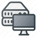 data, database, monitor, server, storage, view icon