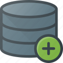 add, data, database, server, store icon