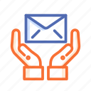 envelope, hand, help, letter, mail icon