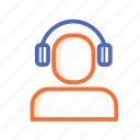 headphone, staff, support icon