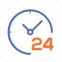 24 7, clock, date, schedule icon