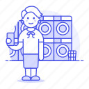 1, basket, cleaning, clothes, dryer, laundromat, laundry, machine, services, washer, washing, woman icon
